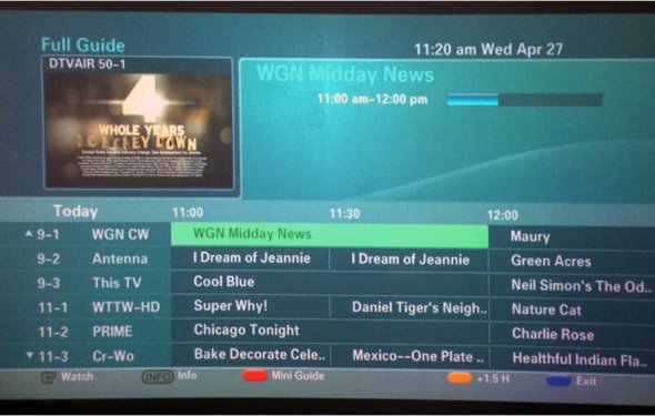 Of the HDTV channel guide